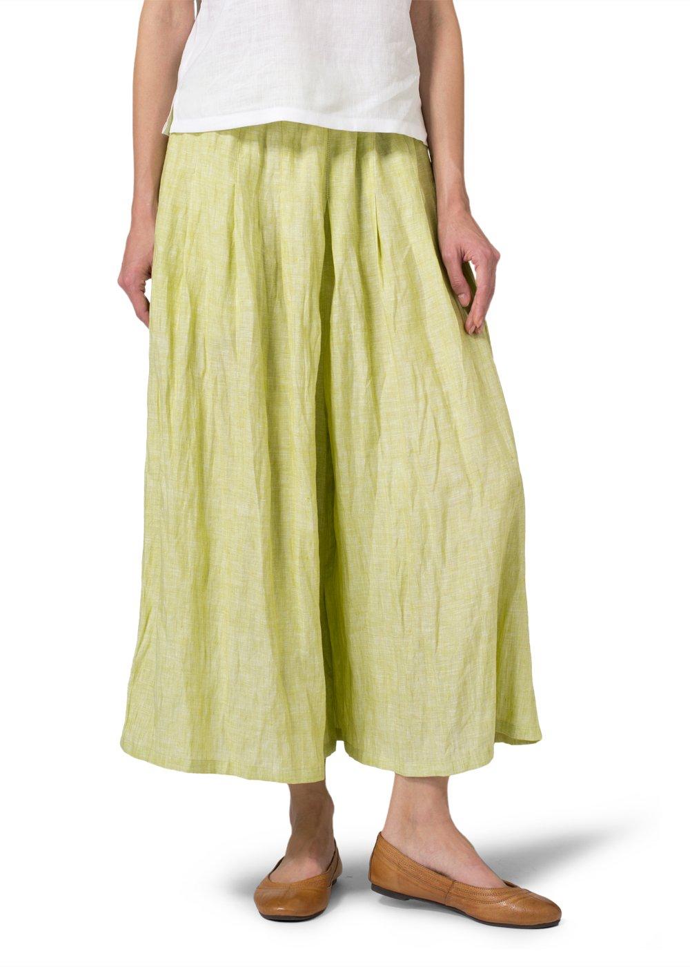 Vivid Linen Pleated Culottes-XL-Lime