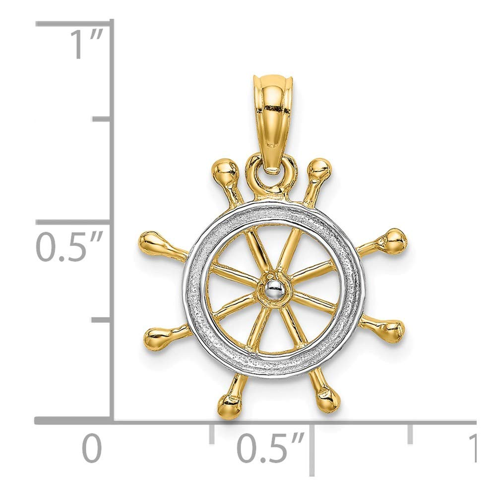 14k Rhodium-Plated /& 2-D Ship Wheel Charm