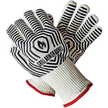 Grill Armor Extreme Heat Resistant Oven Gloves - EN407 Certified 932F - Cooking Gloves for BBQ, Grilling, Baking, Extra Long Cuff