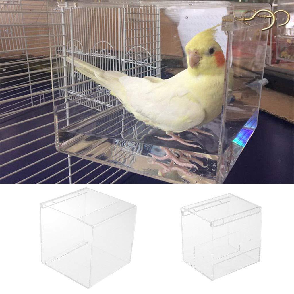 FidgetKute Bird Bath for Canary Budgie Bird Cage Transparent Acrylic Bath House with Hook 12.8x11.2x13.2cm by FidgetKute
