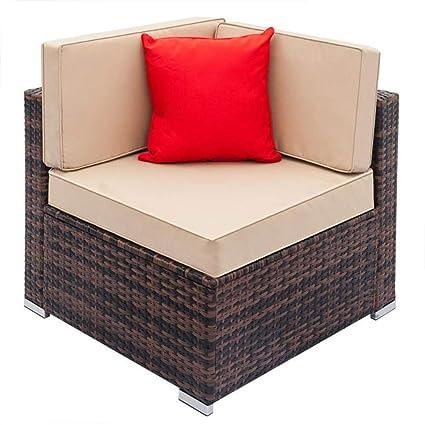 Amazon.com: Weaving Rattan Living Room Left Corner Sofa ...