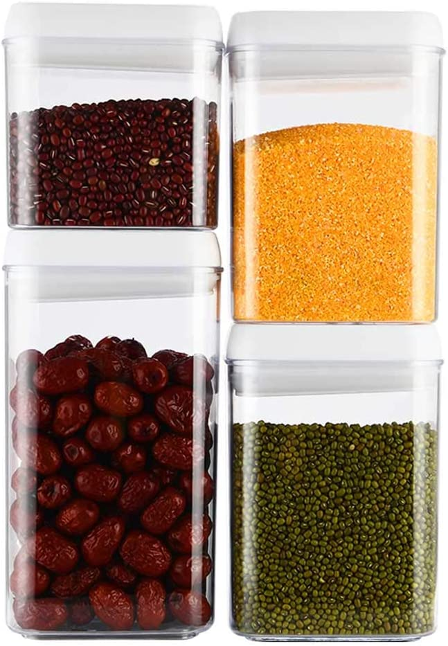 JET ONEE Airtight Food Storage Containers 4 Pack, Plastic Cereal Containers with Easy Lock Lids for Kitchen Pantry Organization and Storage, BPA Free, Easy to Clean