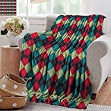 XavieraDoherty Beach Blanket,Navy and Teal,Classical Argyle Diamond Line Pattern Vintage Traditional Colorful Retro