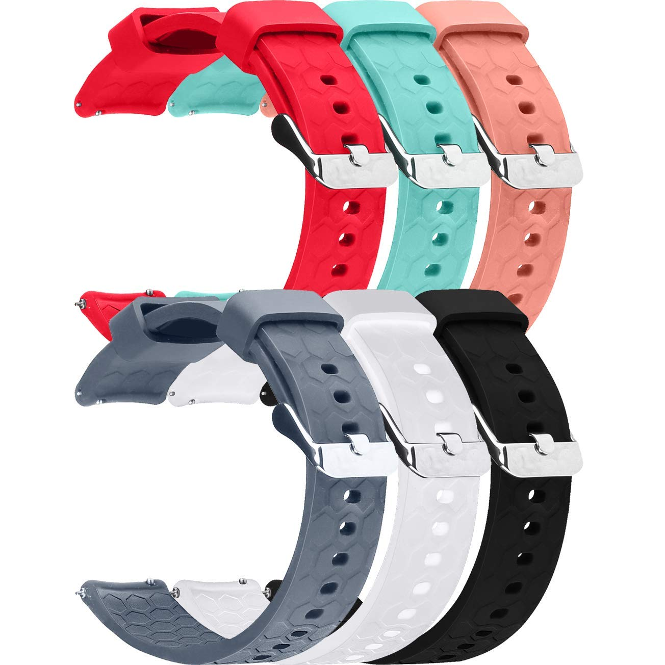 6pcs 20mm Replacement Silicone Bands for Amazfit Bip Smartwatch