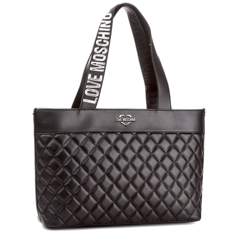 LOVE MOSCHINO Quilted Tote with Gold Metallic Logo Handles, Black by MOSCHINO (Image #2)