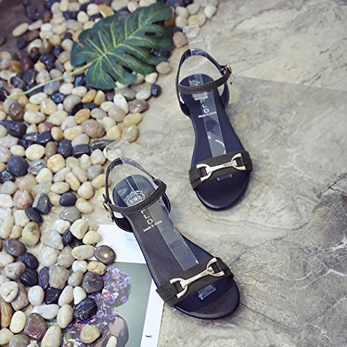 Colorful TM Women's Summer Buckle Sandals Shoes Teenage Girl Beach Sandals Peep-Toe Low Shoes Roman Sandals Green A uTErgJr