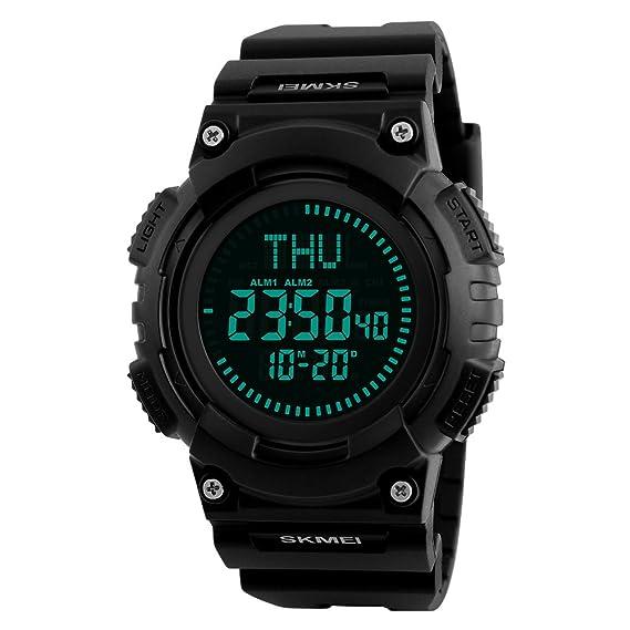 Brújula Reloj Deportivos Digital Impermeable, TONSHEN Hombre LED Display Outdoor Militares Táctica Plástico Goma Relojes