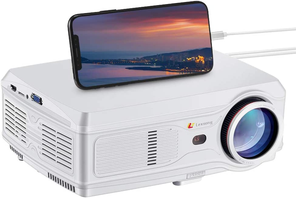 """Lexsong HD Video Projector Native 1920×1080P and 300"""" Display LED LCD Portable Theater Projectors 6000 Lumens for Home Outdoor Company Compatible with TV Stick, Phone, PS4, HDMI, VGA, TF and USB"""
