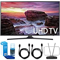 Samsung UN65MU6290FXZA Flat 64.5 LED 4K UHD 6 Series Smart TV (2017 Model) + 2x 6ft High Speed HDMI Cable + Universal Screen Cleaner + Durable HDTV and FM Antenna