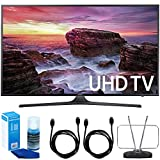 Samsung UN65MU6290FXZA Flat 64.5'' LED 4K UHD 6 Series Smart TV (2017 Model) + 2x 6ft High Speed HDMI Cable + Universal Screen Cleaner + Durable HDTV and FM Antenna