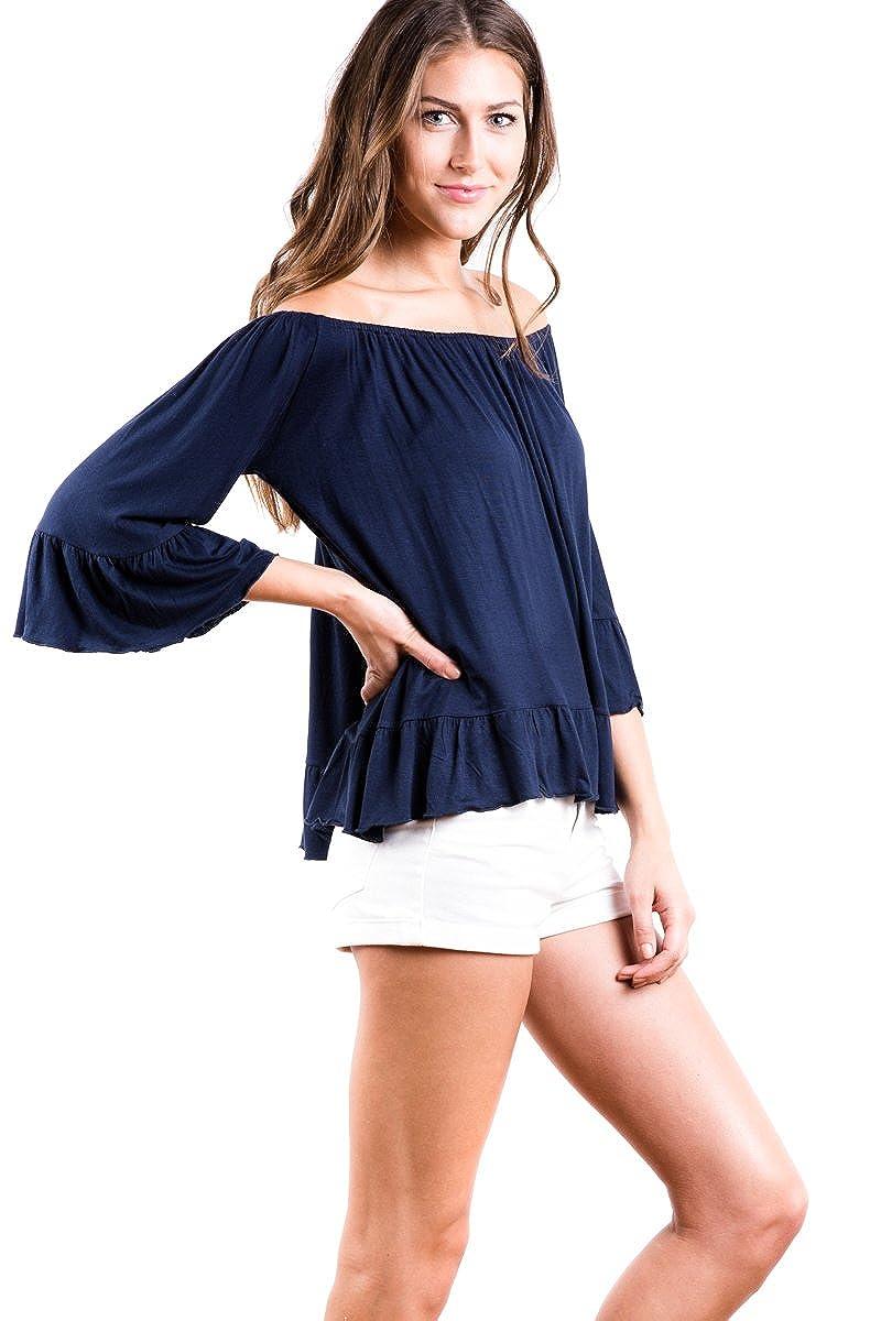 28da29cee84 Modern Kiwi Camilla 3/4 Sleeve Off Shoulder Ruffle Hem Tunic Top at Amazon  Women's Clothing store:
