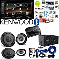 Kenwood double Din 6.2 Touchscreen Car DVD CD Stereo 6.5 6-1/2 in 2-Way Flush Mount Car Speaker 4 Gauge AMP Kit Car audio Amplifier And Subwoofer Package Dual 12-Inch, 3/4-Inch MDF Sealed Enclosure