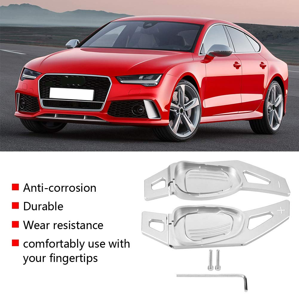 Red Car Steering Wheel Shift Paddle Shifter Aluminum Decoration Decal Frame Cover Shifters Paddles Sticker Suitable for Left Driving for A5 S3 S5 S6 SQ5 RS3 RS6 RS7