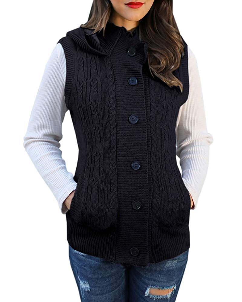 YOMISOY Womens Cardigan Sweaters Sleeveless Button Down Chunky Knit Hooded Warm Vest with Pockets