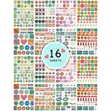 Arcobis Cute Planner Stickers Value Pack for Women, Monthly Weekly Daily Planner Colorful Sticker for Planner Calendar Journal Scrapbook Agendas - 16 Sheets