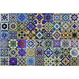 Art3d 54 Different Designs of Talavera 4''x4'', Spanish Mediterranean Decor, Hand Painted Talavera Mexican Tiles 12''x12'' (6 Tiles)