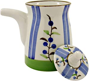 Ceramic Japanese Oil, Soy Sauce Dispenser with Lid, White with Colored Plant Design, 6 Ounce