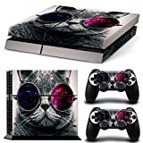 Chickwin PS4 Vinyl Skin Full Body Cover Sticker Decal For Sony Playstation 4 Console & 2 Dualshock Controller Skins (Cat)