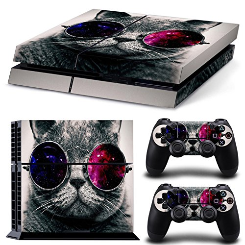 DICOOL Cat Sunglasses Cute Vinyl Decal Protective Cover Sticker for Sony PS4 Console and 2 Dualshock - Instructions Sunglasses Video