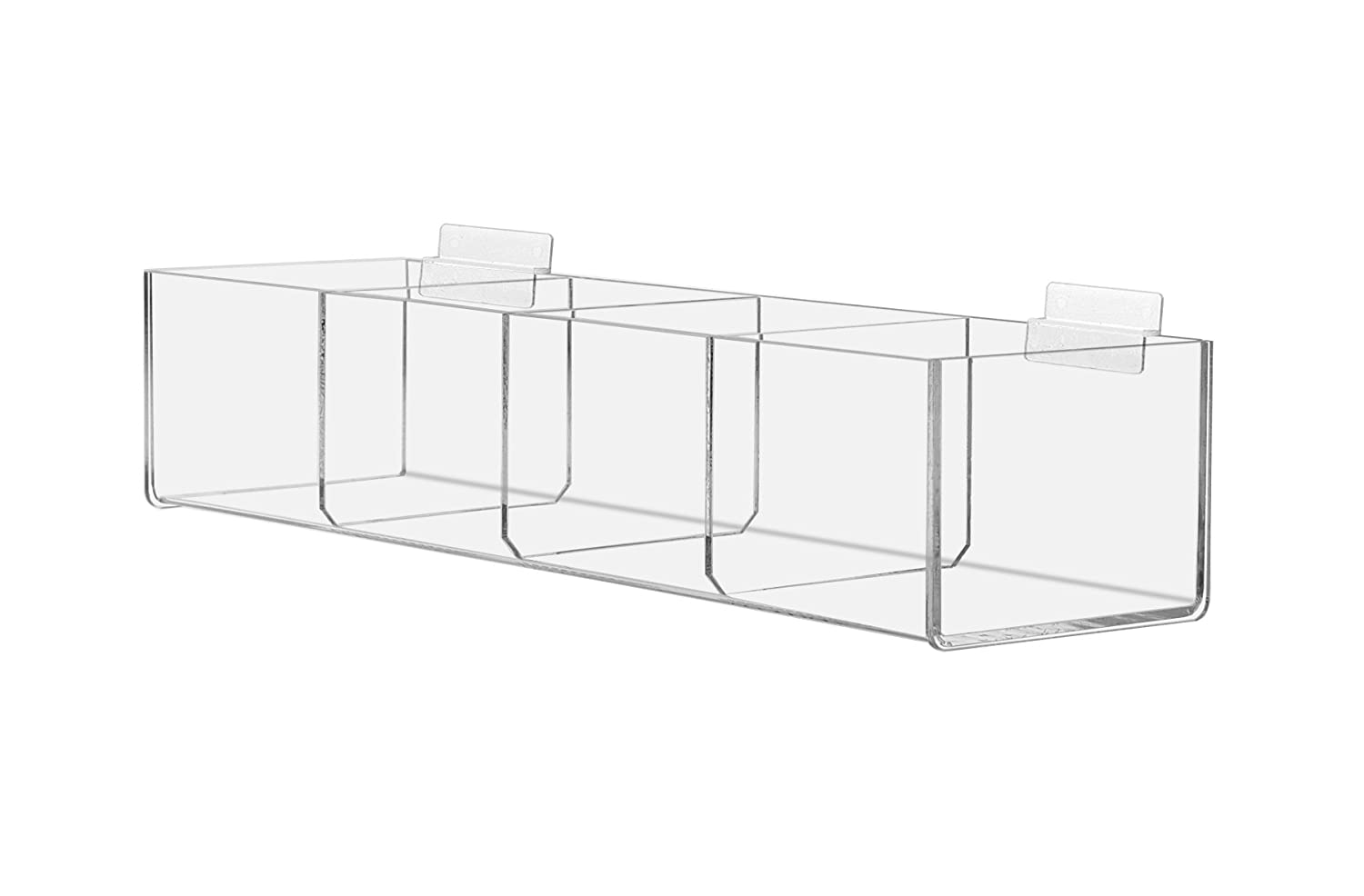 Marketing Holders Slat-wall Compartment Bin Clear Organization Storage Display 4 Bin Compartment Qty 4 4BIN-CLR-4