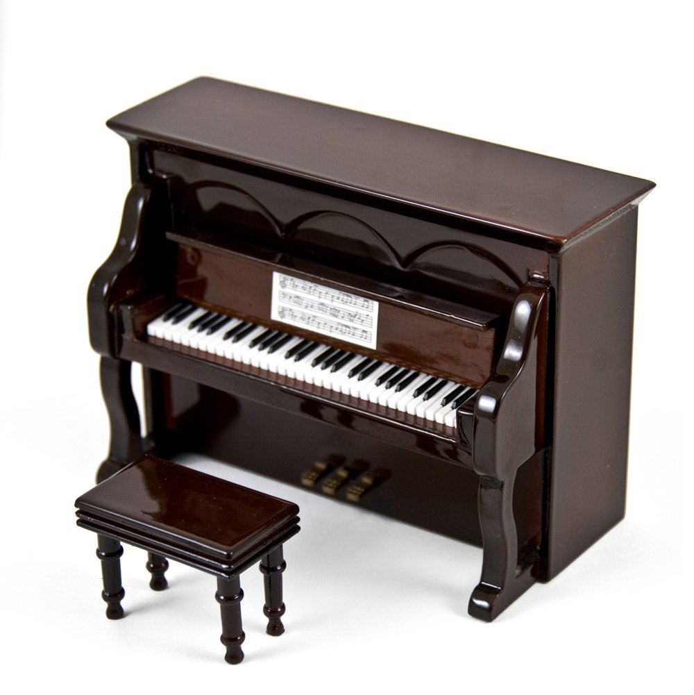 Miniature 18 Note Musical Hi-Gloss Brown Upright Piano with Bench - Love is Blue (L'amour est Bleu) - SWISS