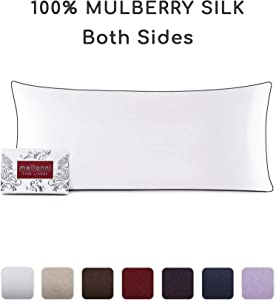 """Mellanni Silk Pillowcase for Hair and Skin - Both Sides 100% Pure Natural Mulberry Silk - 19 Momme - Hidden Zipper ClosurePillow Case- Hypoallergenic (Body 20"""" X 54"""", White, Black Piping)"""