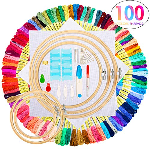 Embroidery Starter Kit,100 Color Threads,5 PCS Bamboo Embroidery Hoops,2 PCS 11.8 inches Aida Cloth,and Cross Stitch Embroidery Needle Point Kit Beginner Supplies ()