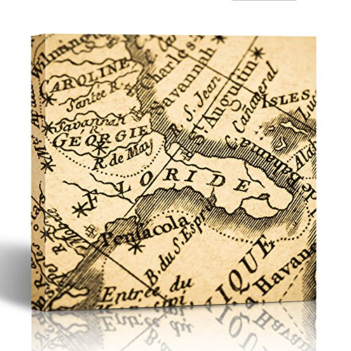 Century 18th Fireplaces (Emvency Painting Canvas Print Square 20x20 Inches 1775 Old Map Florida Peninsula in America Production 18Th Century Antique Cuba Wall Art Decoration Wrapped Wooden Frame)