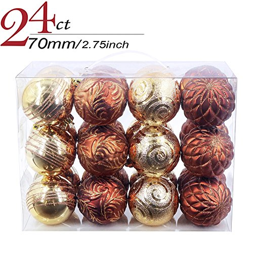 Valery Madelyn 24ct 70mm Woodland Christmas Ball Ornaments Decoration Plastic 7cm/2.75