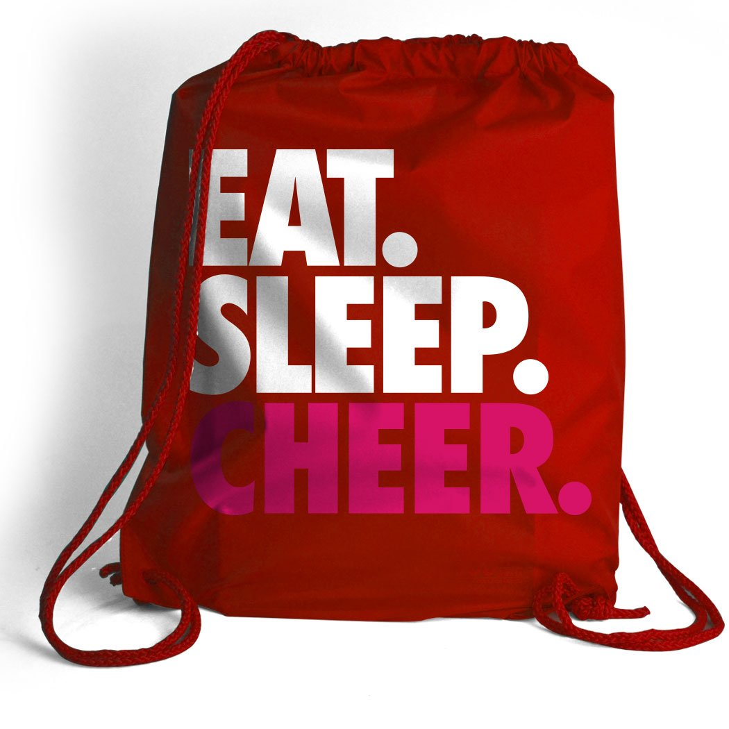 Eat. Sleep. Cheer. Cinch Sack | Cheerleading Bags by ChalkTalkSPORTS | Multiple Colors ChalkTalk SPORTS ch-01206-BLACK