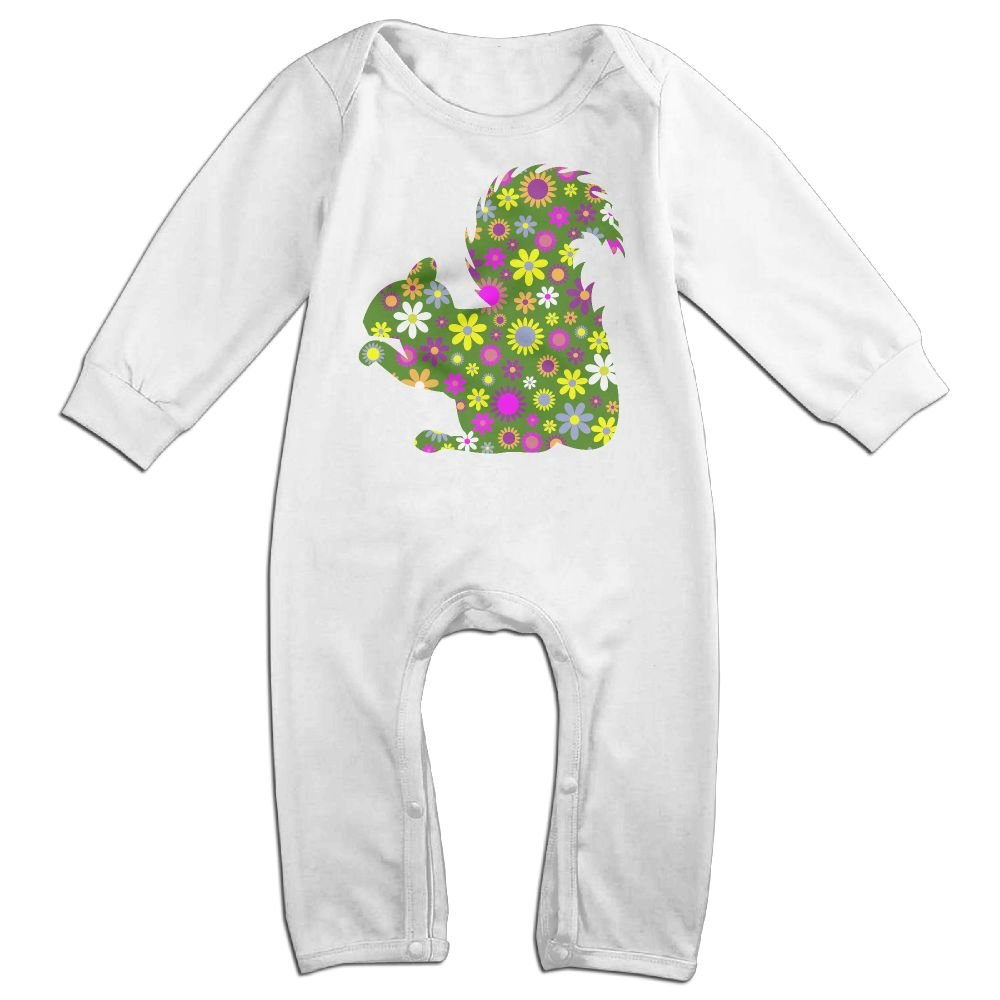 Mri-le1 Baby Girls Long Sleeved Coveralls Retro Floral Squirrel Baby Rompers