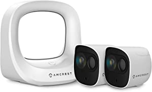 Amcrest Battery Home Security Camera System Wireless Outdoor 1080P, 6Month Rechargeable Battery, Night Vision, Indoor/Outdoor IP65 Weatherproof, 2-Way Audio, 2 Cam Kit AB2WFSET-2PP