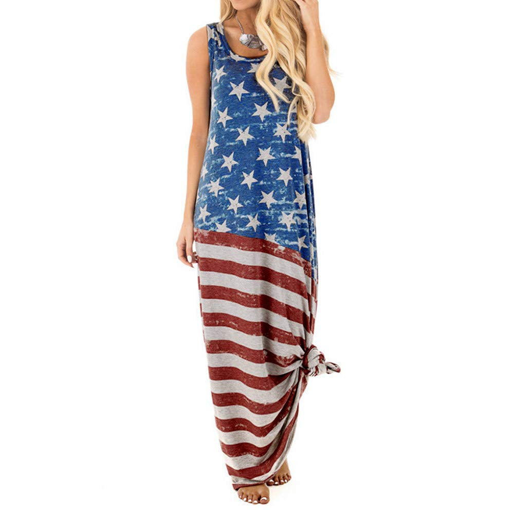 Thenxin Sexy Women USA Flag Print Long for Women Round Neck Sleeveless Independence Day (Blue,XL) by Thenxin-dress