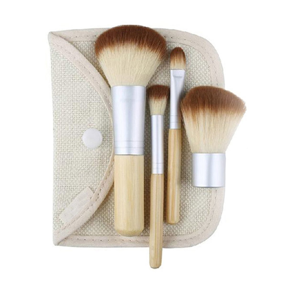 Hacoly Juego de 4 pinceles de maquillaje con mango de bamb/ú Brochas de maquillaje Cepillo de rubor Cepillo Pincel de maquillaje del fibra Brochas de Blush
