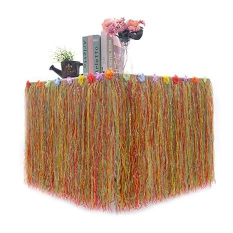 Womdee Falda de Mesa de 9 pies de Largo con Flores Tropicales de ...