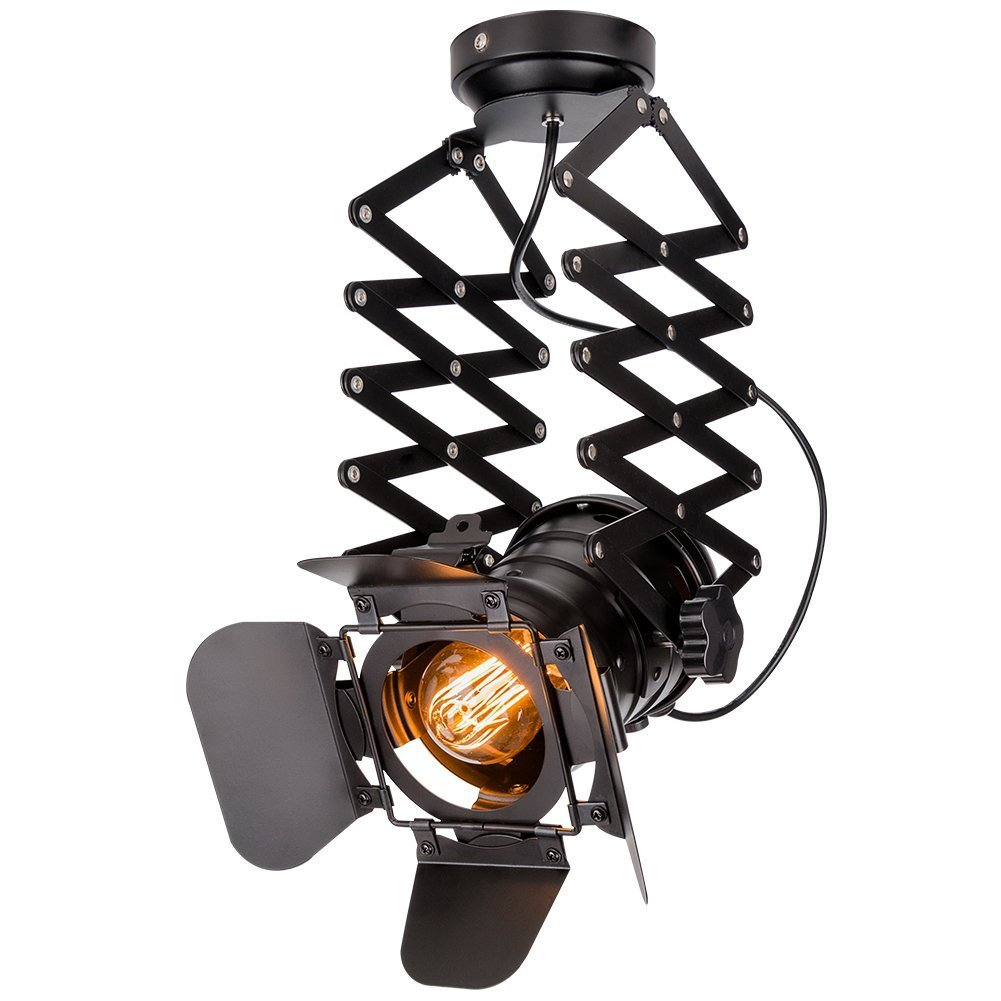 Hobaca® E27   E26 Loft Industrielle Deckenspots Ziehharmonika-Arm Decke Spots Leuchtensysteme Innenbeleuchtung Deckenleuchten Beleuchtung Vintage Pendelleuchte Hängeleuchte Wandlampe