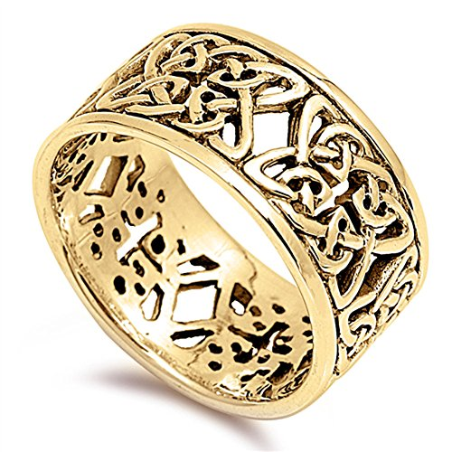 Gold-Tone Celtic Filigree Trinity Flower Ring Sterling Silver Band Size (Celtic Trinity Knot Ring)