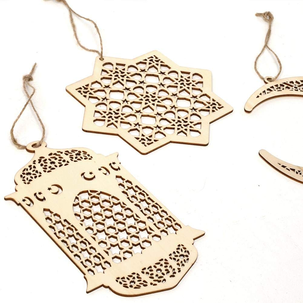 Nifera Eid Ramadan Mubarak Hollow Decorations Wooden Golden Hanging Lantern Baubles Festive DIY Home Decorations
