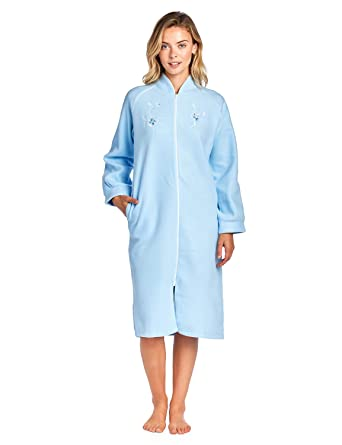 feb711d6c1 Casual Nights Women s Zip Up Front Long Fleece Robe House Dress - Blue -  Small