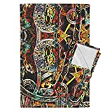 Roostery Steampunk Tea Towels Psychedelic Super Punk by Whimzwhirled Set of 2 Linen Cotton Tea Towels