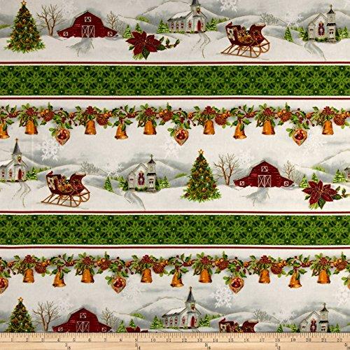 P & B Textiles Christmas Chimes Border Metallic Fabric by the Yard, Red/Green -  0563312