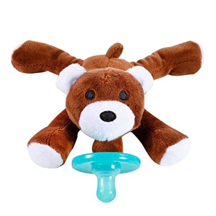 Chupete con La Felpa Oso Suave Regalo para Bebé Regalo Navidad Animal Jugute Chupete para Dar Bienvenida al Bebé