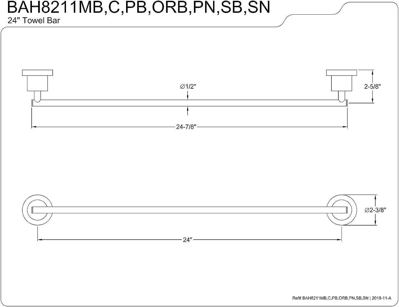 Kingston Brass BAH8211SB Concord 24-Inch Single Towel Bar Brushed Brass