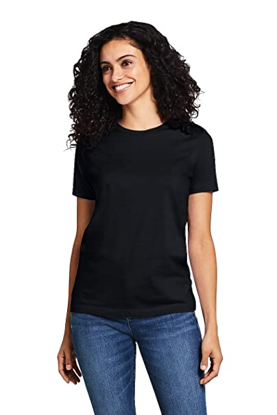 76ece78acbdf Lands' End Women's Supima Cotton Short Sleeve T-Shirt - Relaxed Crewneck, XS