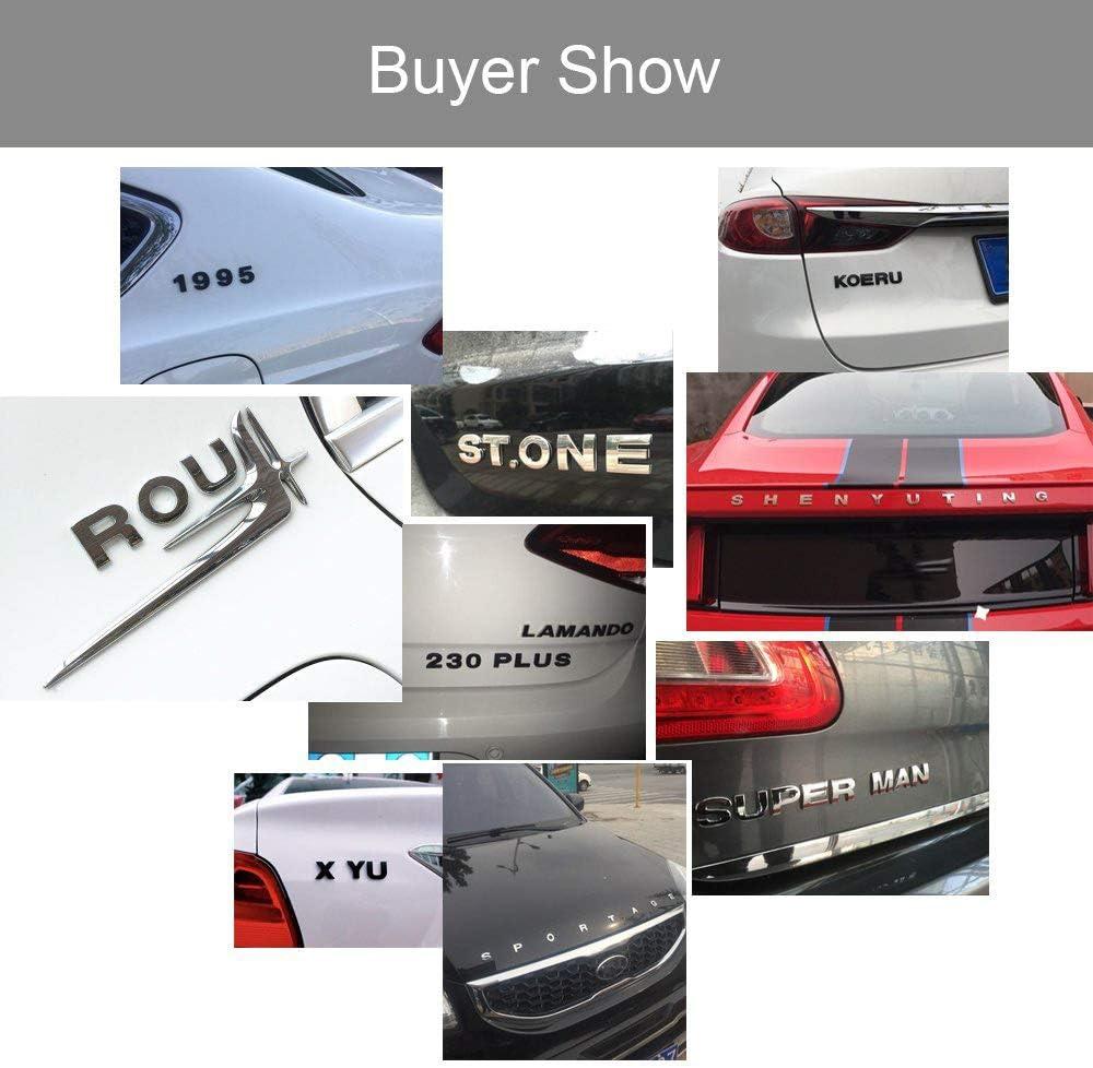 in Metallo Argento Adesivi Per Auto Logo 3D Emblema Assetto Per Uomini e Donne MAXGOODS Set di 26 Lettere Dellalfabeto Adesivi