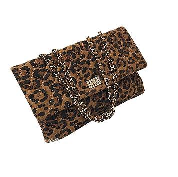 YGMDSL Un Hombro Oblicuo Estampado de Leopardo Sobre Cadena Salvaje Personalidad,Metallic: Amazon.es: Deportes y aire libre