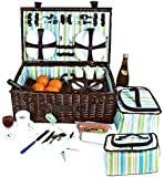 VivoCountry © Luxury 4 Person Deluxe Natural English Willow Picnic Basket Hamper with Cutlery, Corkscrew, Cooler Bag, Glasses, Plates