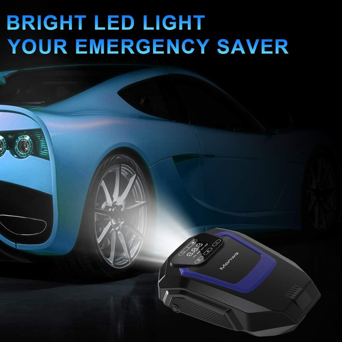 LED Flashlight DC 12V 150PSI Car Pump Tyre pump with Auto Shut Off Manwe Digital Tyre Inflator Touch Screen Tire Inflator 3 Nozzles,Valve Adaptors Portable Air Compressor Pump