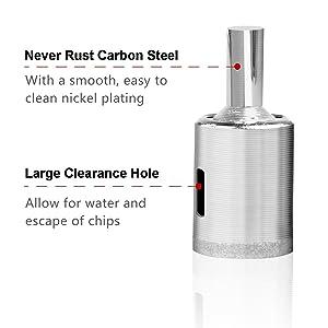 Diamond Hole Saw - 15 pcs Diamond Drill Bit Set Extractor Remover Tools for Glass, Ceramics, Porcelain, Cermic Tile (1/4-2) (Color: silver)