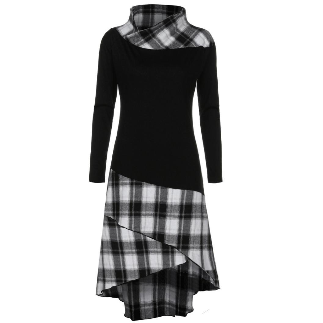 Toamen Newest Women\'s Long Sleeve Dress, Women Girls Super Fashion High Polo Neck Plaid Pattern Patchwork Long Sleeve Dress, Winter, Spring